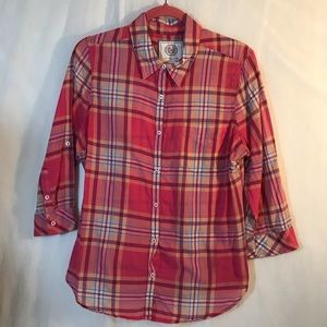SO Perfect Shirt Pink Plaid Cotton Blouse